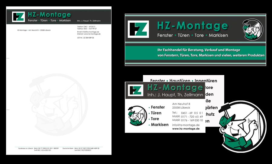 Visitenkarte und Briefbogen HZ Montage